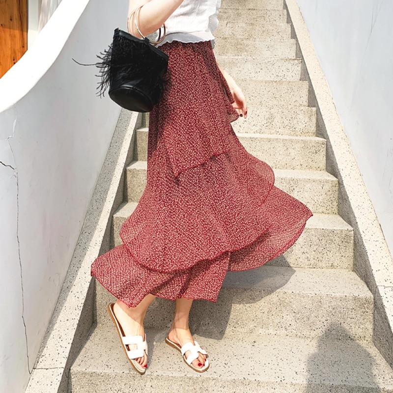19cdffb93 Elegante estampado Floral volantes mujeres falda Vintage cintura elástica  gasa A-line falda ...