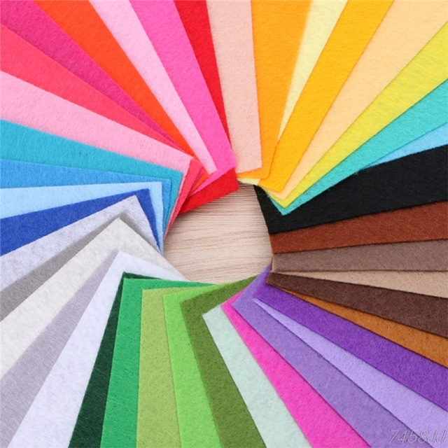 40pcs 20x10cm Non-woven Felt Fabric 1mm Polyester Cloth Felts DIY Bundle For Apparel Sewing Dolls Crafts Multi-color 3