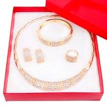 Hot Chapado En Oro perlas Africanas joyería Conjunto Sistemas de La Joyería Nupcial de La Boda Del Partido Crystal Rhinestone Mujeres de La Manera de Regalo