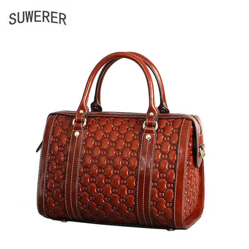 2018 New Women Genuine Leather bag luxury handbags top Cowhide women bag designer fashion Boston bag women bags handbag