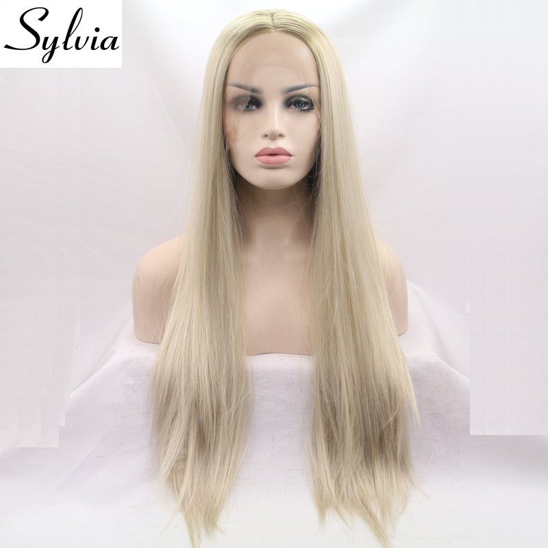 ФОТО sylvia light blonde long silky straight synthetic lace front wigs with brown roots middle parting heat resistant fiber hair