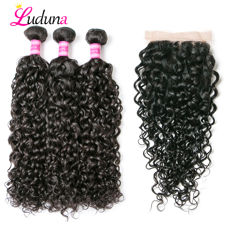Luda Brazilian Hair Weave Bundle With Frontal Closure Water Wave Bundles With Closure Remy Human Hair