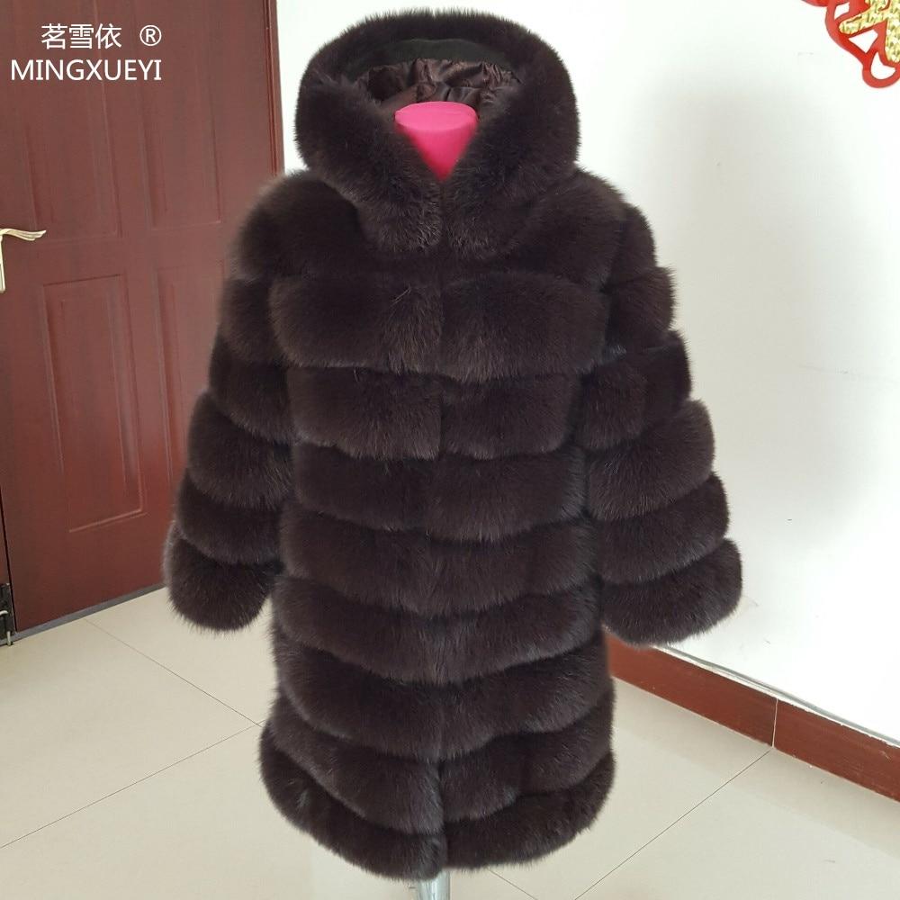 90cm real fox fur coat women's long blue coats Fox fur coat jacket hood