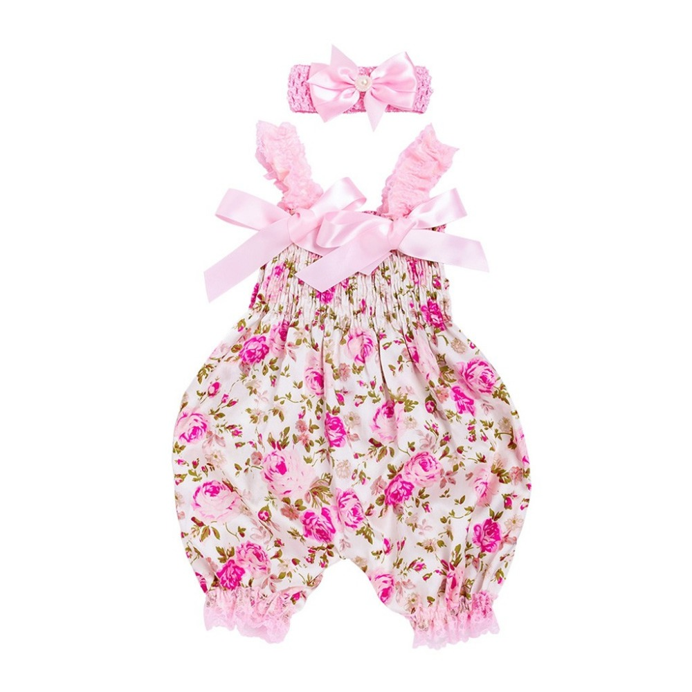 Toddler Baby Boys Girls Floral   Romper   Jumpsuit+Headband Set Outfit RompersRomper baby boys girls jumpsuit new born