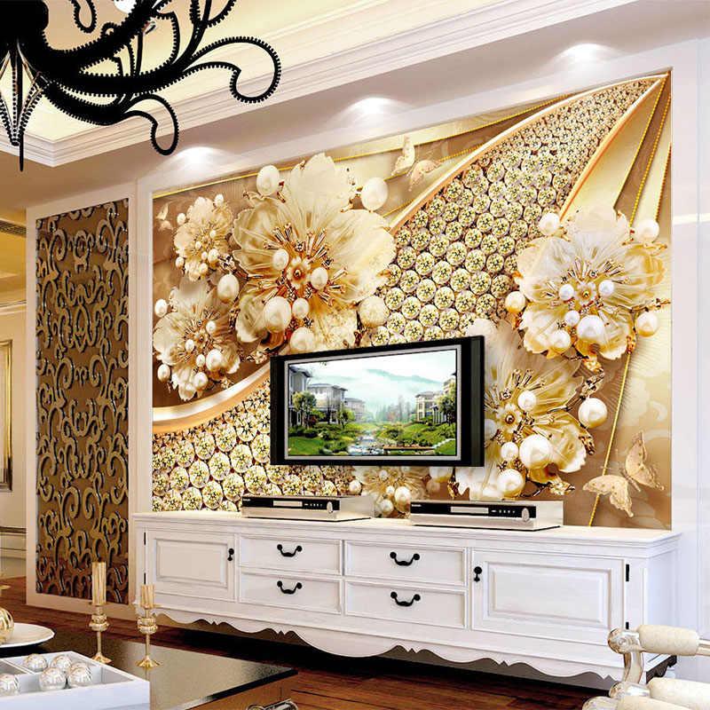 مخصص صور خلفيات 3D تنقش الذهب والمجوهرات زهرة جدارية الأوروبية نمط المعيشة غرفة التلفزيون حائط الخلفية اللوحة الفاخرة ديكور