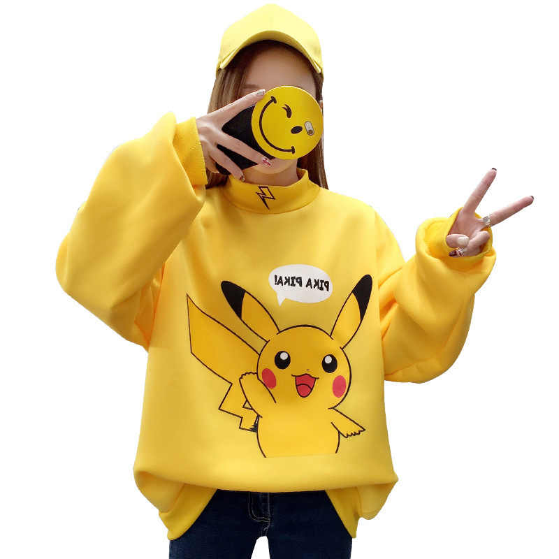 201 Autumn Women Hoodies Turtleneck Pikachu Print Sweatshirts Harajuku Fashion Kawaii Tops Cartoon Pokemon Couples Pullovers