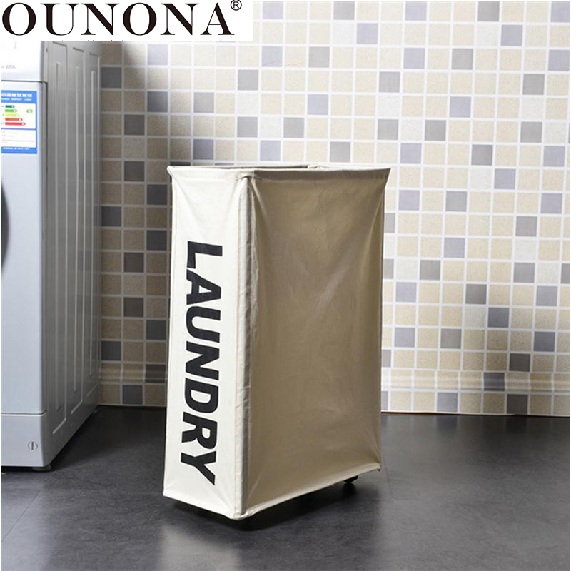 OUNONA Foldable Laundry Storage Basket Dirty Clothes Toys Storage Basket Washing Clothes Bin Canvas Laundry Hamper With Wheels