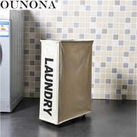 OUNONA Foldable Laundry Storage Basket Dirty Clothes Toys Storage Basket Washing Clothes Bin Canvas Laundry Hamper with Wheels