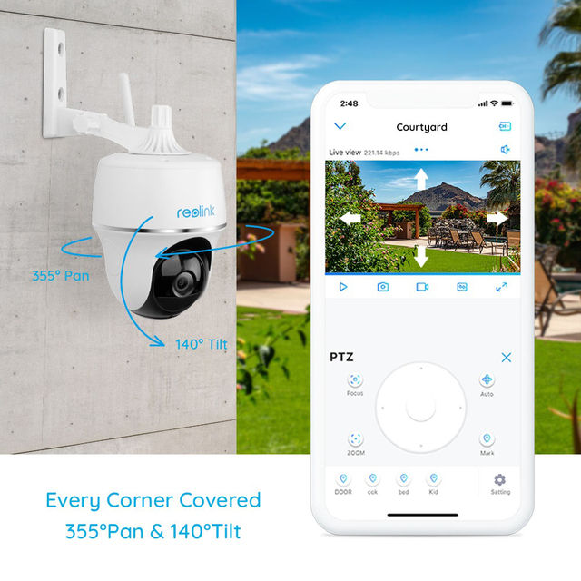 Reolink Argus PT w Solar Panel 1080P WiFi Camera PT Rechargeable Battery/Solar Powered Security Camera 4