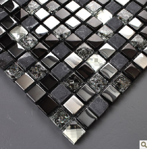 Black Mosaic Tiles Crystal Glass Mixed Stone And Stainless