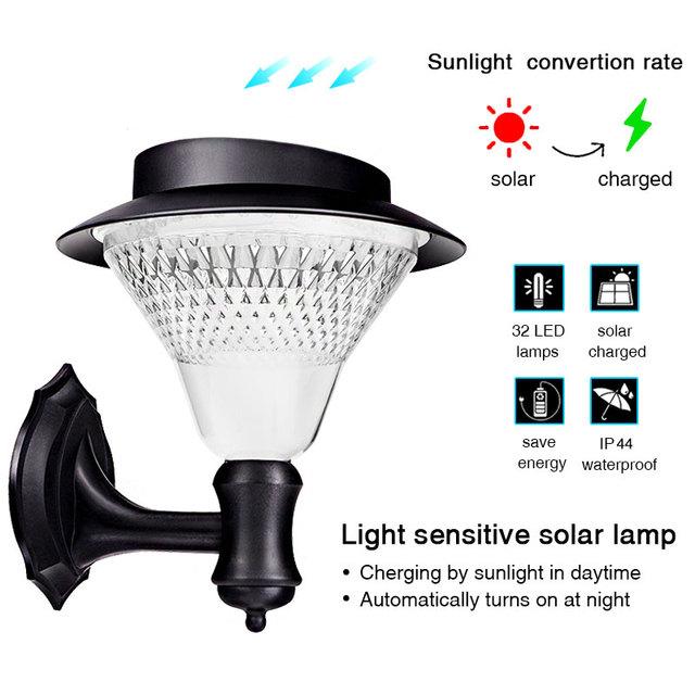 TRANSCTEGO Solar Garden 32 Leds Light Led Sensor Wall Lamp Solar Street Lights Power Outdoor Waterproof Luminaria Battery Lamps