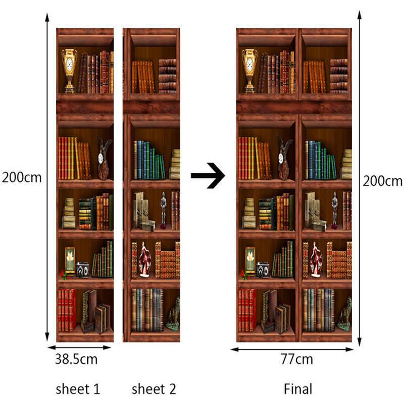 PVC samoprzylepne wodoodporne regał Mural tapety 3D chiński styl drzwi renowacja naklejki salon badania 3D drzwi Mural