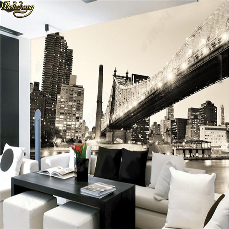 Beibehang custom photo wallpaper mural wallpaper nostalgic for Black and white wall mural wallpaper