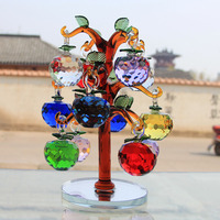 Crystal Glass Apple Tree Ornaments With 12pcs 40mm Apples Home Decor Figurines Christmas New Year Crafts
