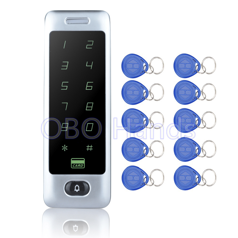 Best Price Of  Waterproof Access Controller Touch Metal Keypad Door Lock System C40 Silver RFID Card Reader+10pcs TK4100 Keyfobs good quality metal case face waterproof rfid card access controller with keypad 2000 users door access control reader