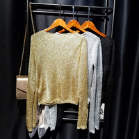 Cakucool New Gold Lurex Knit Tops Women t shirt Long Sleeve Slash Neck Tee Shirts Thin See through Mesh Sexy Tees Tshirts Femme