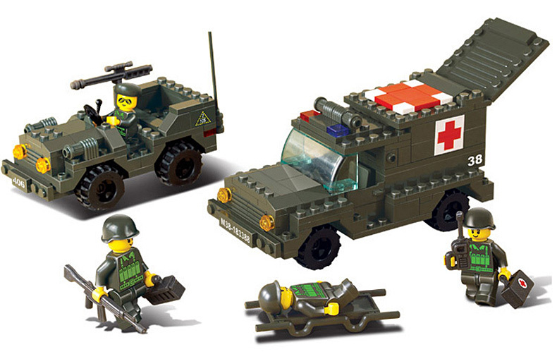 Sluban SUV Hummer jeep Military Series Toy Army Plastic Blocks Kids Gifts Best Friend Minifigures Sets Compatible With Lego