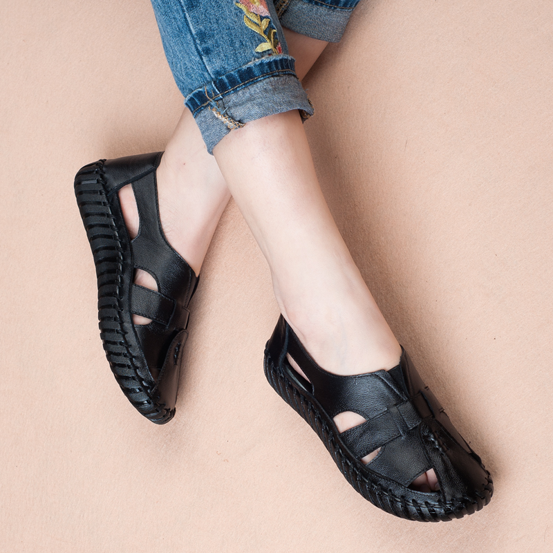 women summer shoes soft leather comfort sandals women female handmade 2018 fshion flat women sandals big size 35-43 A568 3