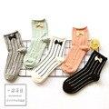 Novo Japonês arco de algodão da listra vertical meias calcetines mulheres meias meias de estudantes tubo de vento