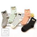 new Japanese bow vertical stripe  cotton socks students wind tube calcetines women socks