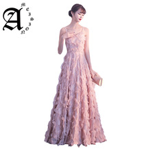 купить 2019 New  Sexy Sleeveless a Line Prom Party Dress Spaghetti Strap Floor Length Haute Couture Evening Dresses по цене 6863.14 рублей