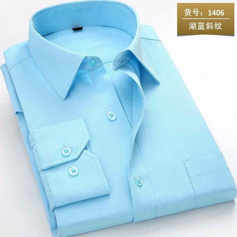 Nieuw aangekomen 2018 heren shirt met lange mouw Casual pure kleur / - Herenkleding - Foto 2