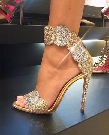 Luxury Gold Bling Crystal Embellished High Heel Pumps Summer Sexy Open Toe  Woman Back Zipper Ankle Strap Gladiator Sandals-in High Heels from Shoes on  ... 49931b1fcbdf