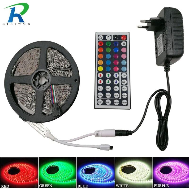RiRi ganó SMD5050 RGB LED Strip 5 m 10 m 60 Leds/m DC 12 V cinta diodo flexible impermeable 44 teclas adaptador