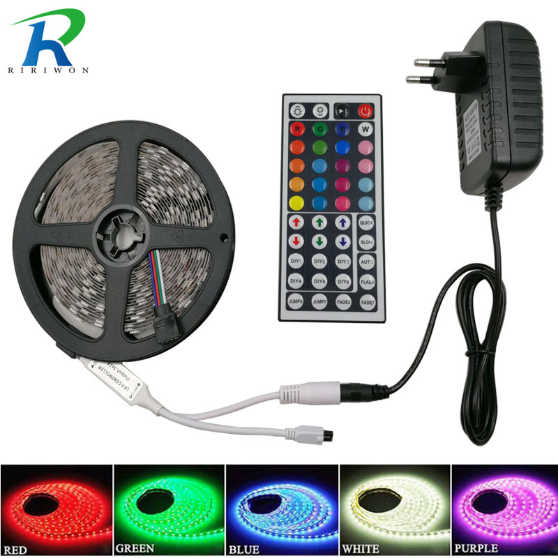 RiRi ganó SMD5050 RGB LED Strip Light 5M 10M 60Leds / m DC 12V cinta diodo flexible impermeable 44keys Conjunto de adaptadores de controlador