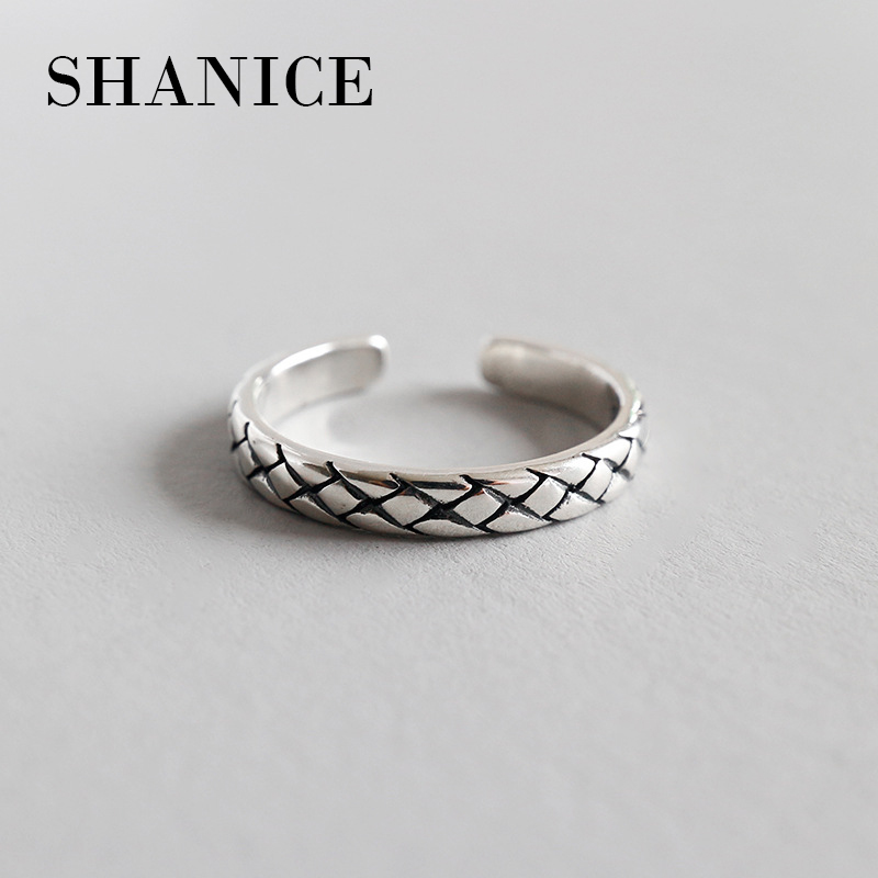 SHANICE 925 Sterling Silver Ring Opening Retro Braided Vintage Punk Style Fashion Silver Jewelry For Girl
