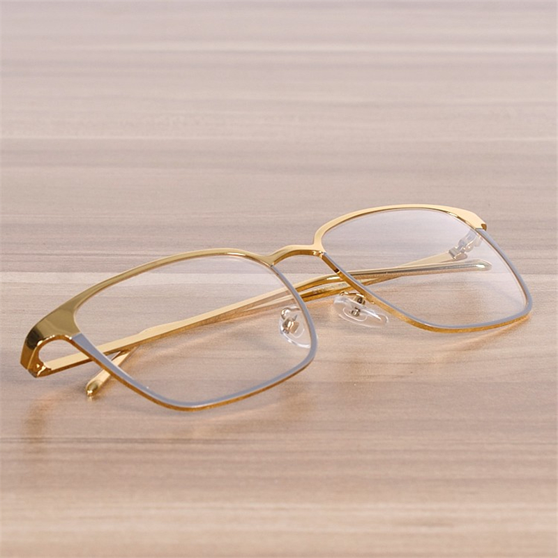NOSSA Kvinder Og Mænds Store Firkantede Metalbriller Ramme Myopi Spectacle Rammer Clear Lens Fashion Gold Eyeglasses Optical Goggles