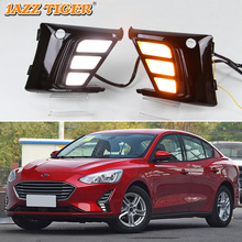купить 2pcs LED Daytime Running Lights For Ford Focus 5 MK5 2019 Fog Lamp DRL with Yellow Turn Signal Lamp 12V Waterproof дешево