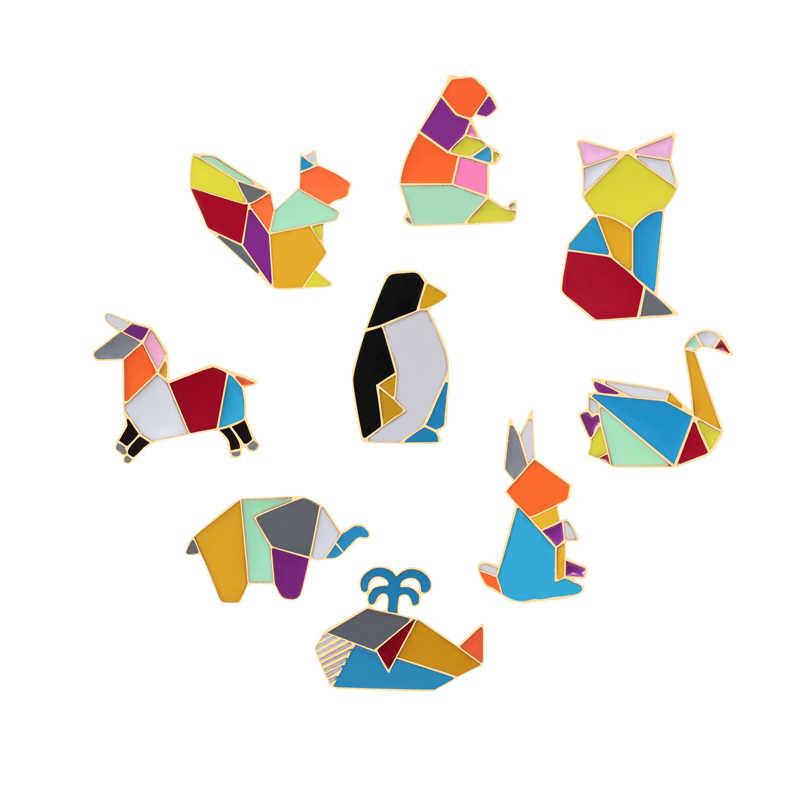 Fashion Kartun Penguin Cat Fox Paus Kuda Gajah Bros Anak Kelinci Beruang Tupai Hewan Bros Logam Lencana Perhiasan