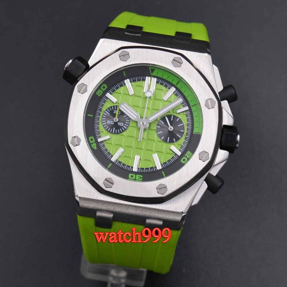 41mm Men's Multi-function Quartz Watch Deluxe Green Rubber Strap Full Chronograph Japanese Quartz Movement