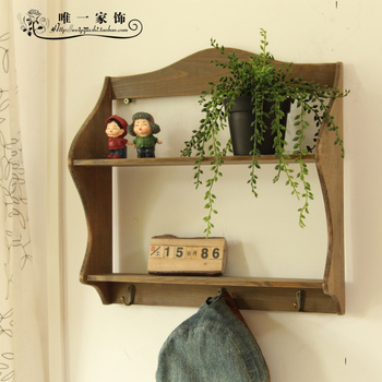 1pc,Zakaa vintage double layer decoration diaphragn wall shelf for hanging clothes hook,bule color have
