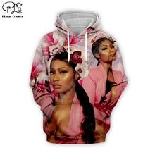 Sexy lady Nicki Minaj Hip-Hop singer 3d Hoodies Women/Men casual Cool Long Sleeve Print Sweatshirts pink floral zipper Hooded
