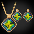 Crystal Pendant Necklaces Earrings Set For Women yellow Gold Plated AAA+ Cubic Zirconia Fashion New Jewelry Sets PE601