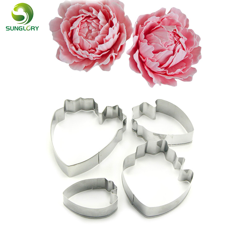 Peony Petal Flower Cookie Cutter Floral Stainless Steel Cake Decorate Mould 4pcs