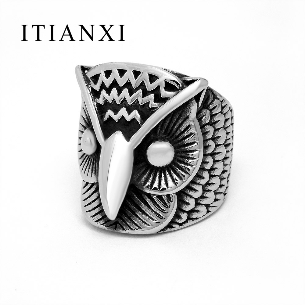 ITIANXI Sales Women Mens Eagle Owl Rings Titanium Steel Stainless Steel Ring Male Female Jewelry Silver Color