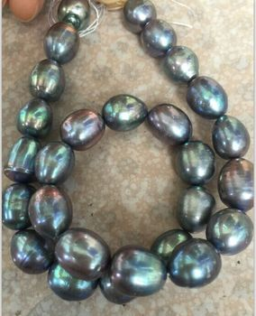 """Stnning 10-12mm barroco tahitiano negro gris y verde collar de perlas 18"""""""