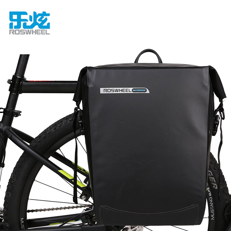 ROSWHEEL 20L 100% full waterproof mtb cycling bicycle bike trunk bag rear rack accessories wheel up bicycle rear seat trunk bag full waterproof big capacity 27l mtb road bike rear bag tail seat panniers cycling touring