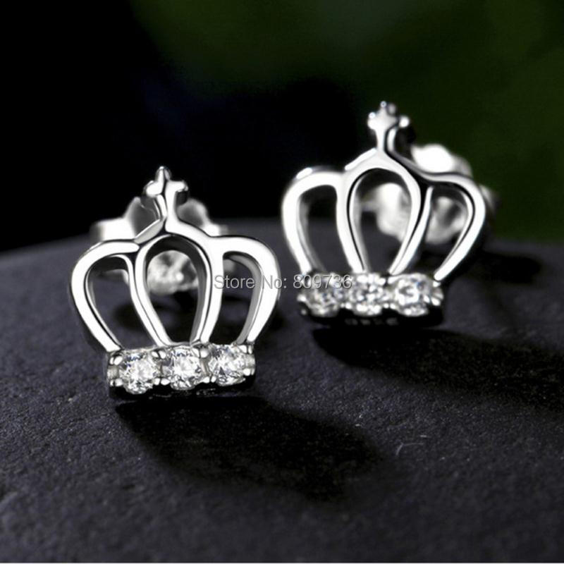 1Pair Princess Crown Silver Pated Earrings Cross Rhinestone Ear Stud Women Earrings Party Jewelry New Xmas Gift Hot Sell