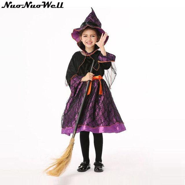 5b54097f12ab59 Hoge Kwaliteit Paars Meisjes Heks Jurk met Zwarte Caps   Hoed Halloween  Kostuum voor Kinderen Cosplay