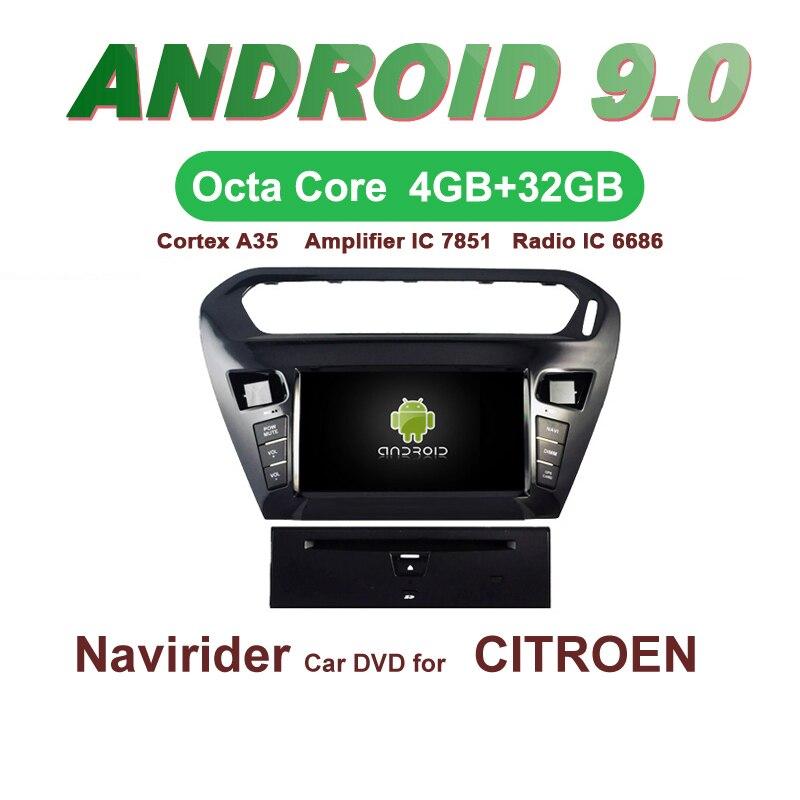 Navirider GPS Android 9.0 bluetooth stéréo 4-Core 8-Core lecteur DVD de voiture pour citroën ELYSEE 301 2012 unité autoradio accessoires