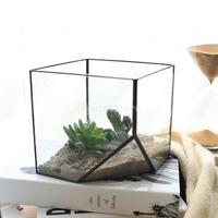 Glass Terrarium Cube Fairy Garden House Greenhouse Size L