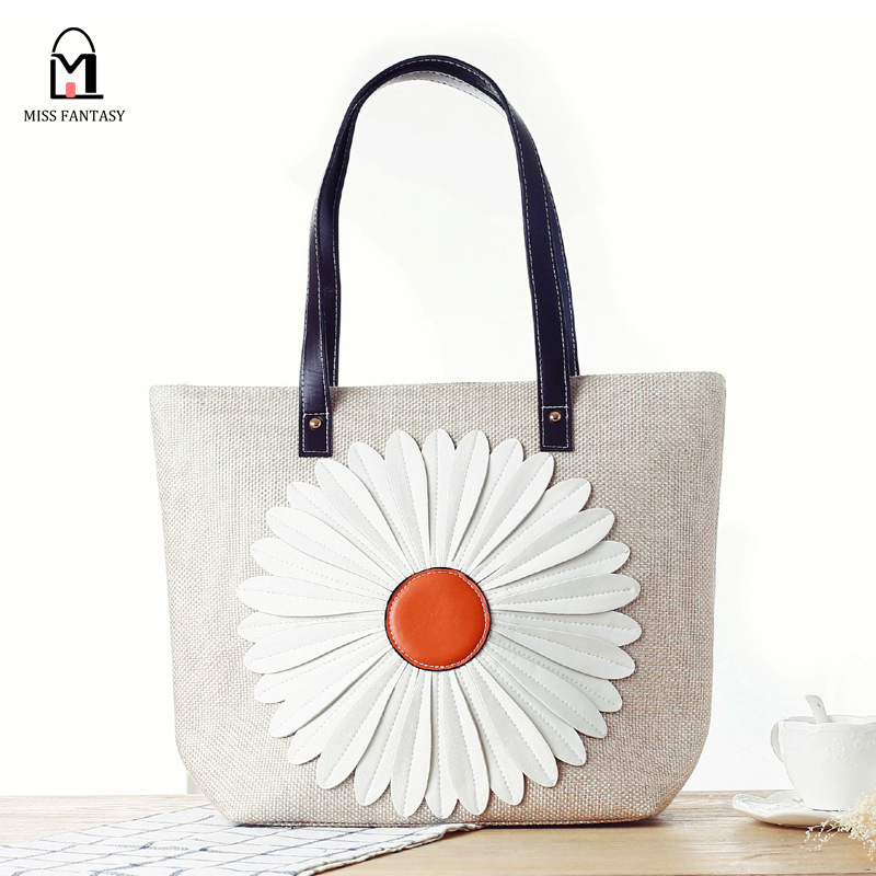 Women's Straw Bag Crochet Paper String Summer Beach Bags Lady's Shoulder Fashion Handbag with Big Flower Japanese Style 2016
