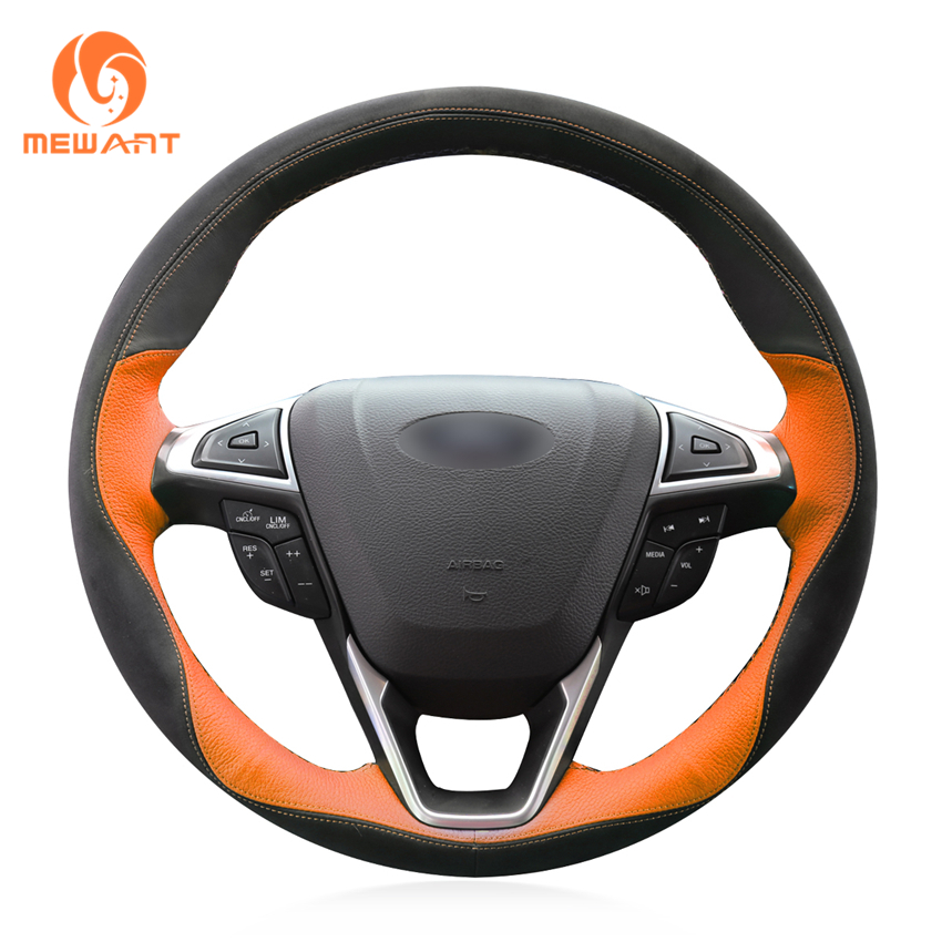 MEWANT Black Orange Leather Black Suede Car Steering Wheel Cover for Ford Fusion Mondeo 2013 2014 EDGE 2015 2016 for ford fusion mondeo 2013 2014 2015 control glass water panel protective film stickers carbon cover