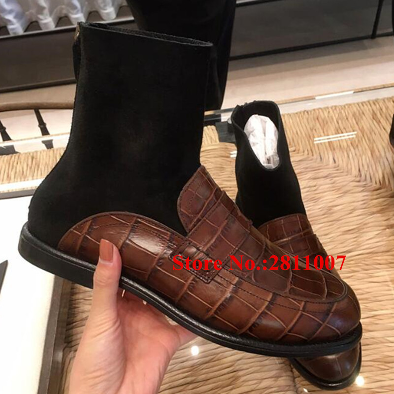 Fall Winter New Booties Embossed Leather Stretch Sock Patchwork Women Ankle Boots Stacked Heels Back Zip Botas Mujer Shoes Woman new fashion brand design lighter high heels stretch women boots sock jersey autumn ankle boots ladies shoes woman botas mujer