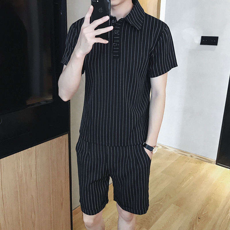 Two Piece Set Men Short Sleeve Polo Shirt +Shorts Men's Tracksuits 2019 New Causal Sportswear Tops Short Trousers 4XL