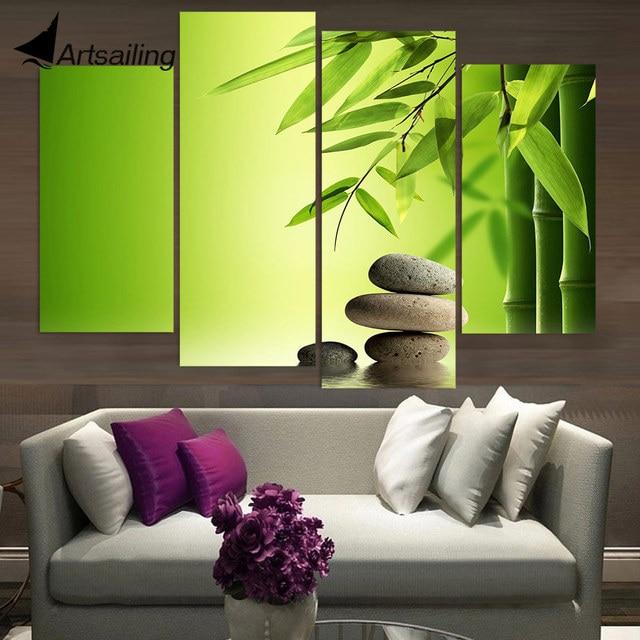 € 8.73 42% de réduction|4 panneau toile peinture toile Art Zen pierres  bambou eau HD imprimé mur Art décor affiche photo pour salon XA307C dans ...